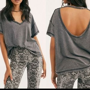 Free People mine cut out exposed gray/black  sz xs